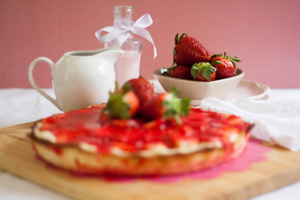 receta tarta de fresa