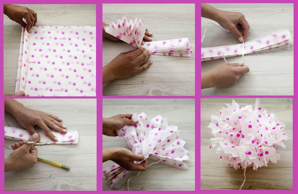 Como hacer pompones de papel de seda para decorar fiestas - Como hacer cadenetas de papel para fiestas ...