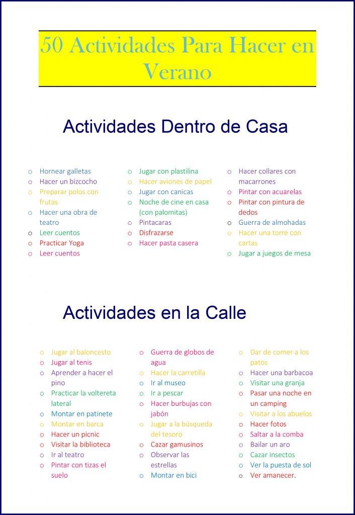 50 actividades para el verano