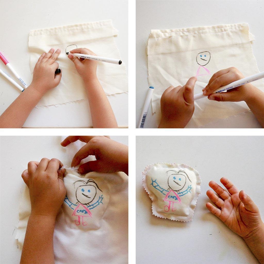 Manualidades faciles para nios cojines decorados con sus dibujos