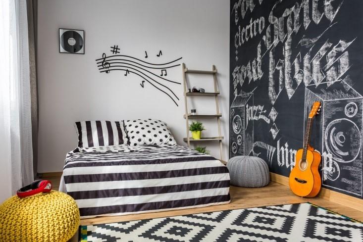 habitacion juvenil en color blanco y negro