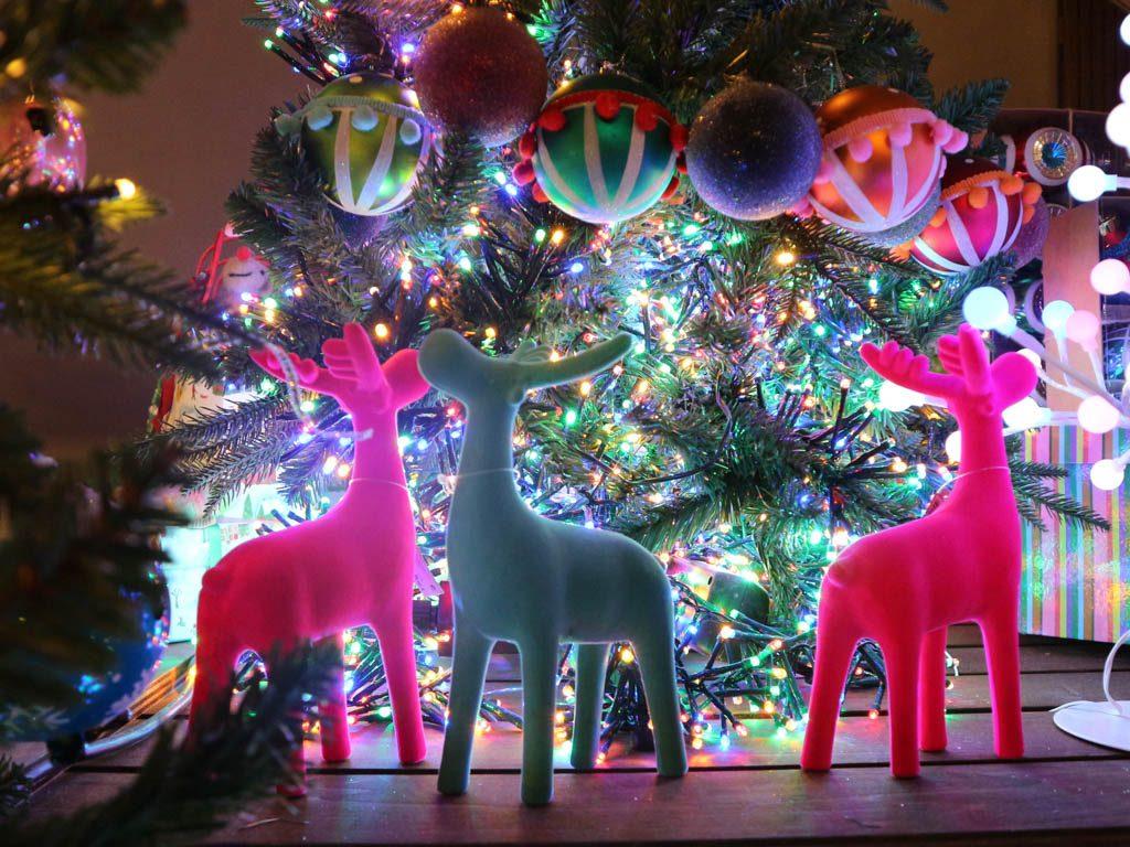 ciervos decorativos y luces de navidad