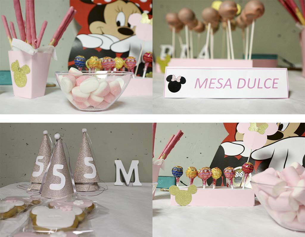 4 imagenes de una mesa de dulces