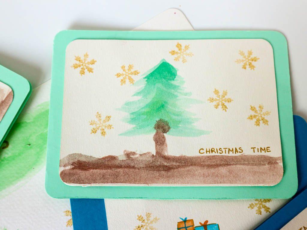 postal de navidad con acuarelas