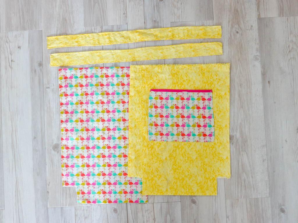 piezas para hacer una bolsa de tela