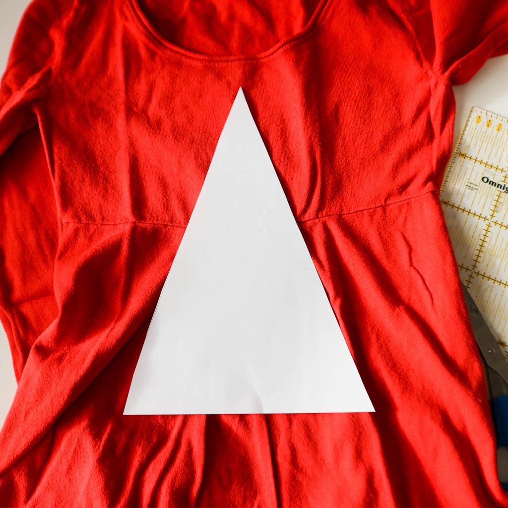 recorta una plantilla en forma de triangulo